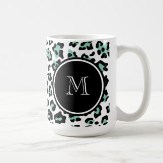 Mint Green Black Leopard Animal Print with Monogra Coffee Mug