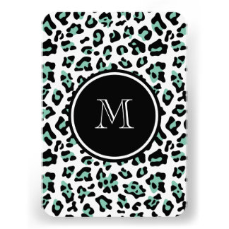 Mint Green Black Leopard Animal Print with Monogra Invitation