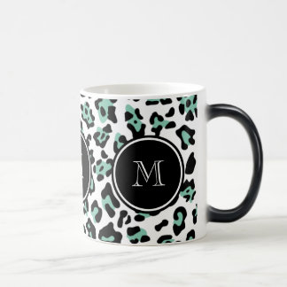 Mint Green Black Leopard Animal Print with Monogra Magic Mug