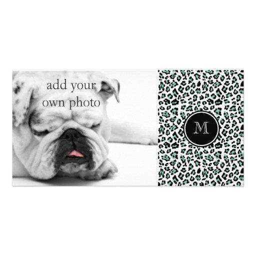 Mint Green Black Leopard Animal Print with Monogra Photo Greeting Card