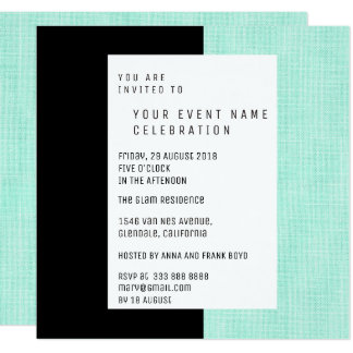 Mint Green Black Minimal Geometrical Linen Glam Card