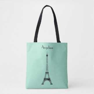 Mint Green Black Paris Eiffel Tower with Name Tote Bag