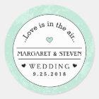 Mint Green Black & White Wedding Custom Names Love Classic Round Sticker