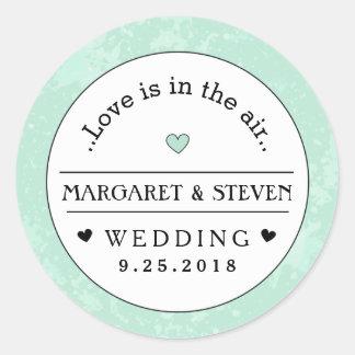 Mint Green Black & White Wedding Custom Names Love Round Sticker