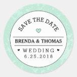 Mint Green Black & White Wedding Save the Date Round Sticker