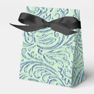 Mint Green Blue Vintage Scrollwork Graphic Design Favor Box