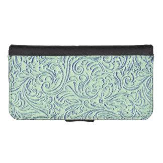 Mint Green Blue Vintage Scrollwork Graphic Design iPhone 5 Wallet Case
