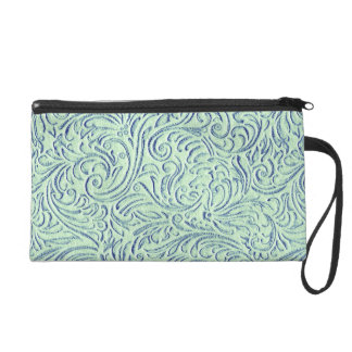 Mint Green Blue Vintage Scrollwork Graphic Design Wristlets