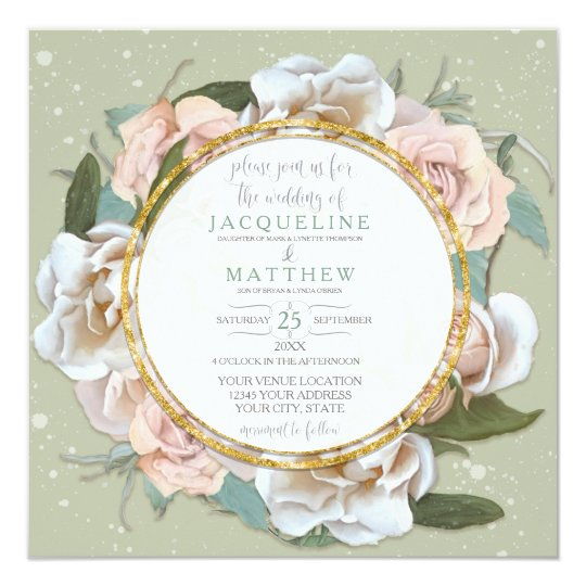 Mint Green Blush Rose Floral Gold Modern Wreath Card