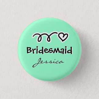 Mint green bridesmaid buttons | personalized name