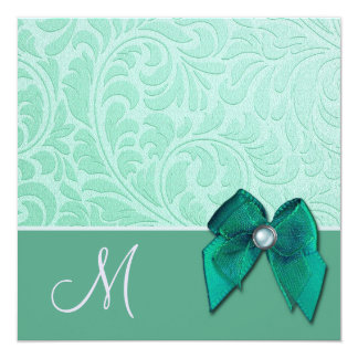 Mint Green Brocade Monogram Wedding Invitation