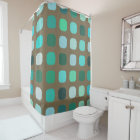 Mint Green Brown Retro Chic Round Squares Pattern