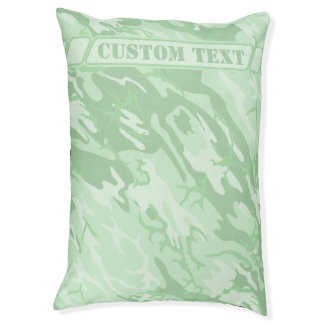 Mint Green Camo Dog Bed with Text Large Dog Bed