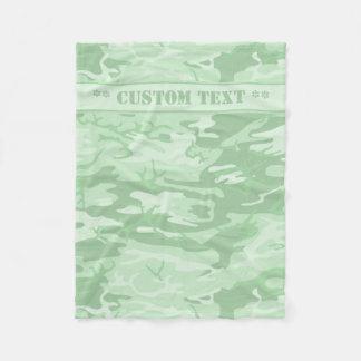 Mint Green Camo w/ Custom Text Fleece Blanket