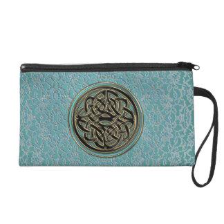Mint Green Celtic Knot Aqua Metallic Lace Wristlet