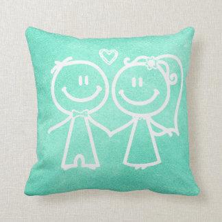 Mint Green Chalkboard Loving Doodles Throw Pillow