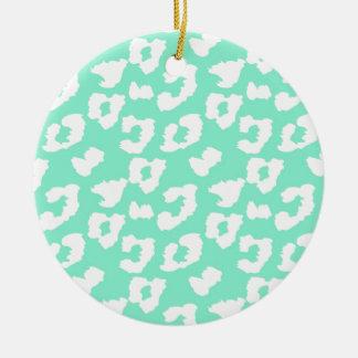 Mint Green Cheetah Leopard Print Round Ceramic Ornament