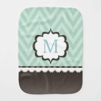 Mint Green Chevron Brown Pattern Custom Monogram Burp Cloths