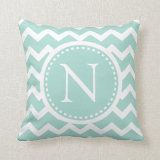Mint Green Chevron Girly ZigZag Monogram Throw Pillow