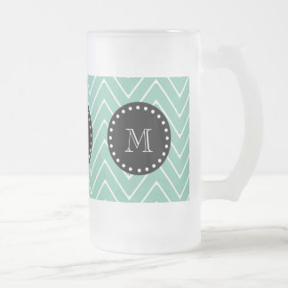 Mint Green Chevron Pattern | Black Monogram 16 Oz Frosted Glass Beer Mug