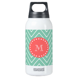 Mint Green Chevron Pattern | Coral Monogram Insulated Water Bottle