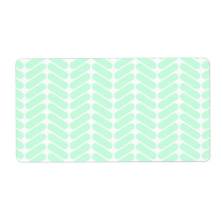 Mint Green Chevron Pattern, like Knitting. Shipping Label