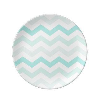 Mint Green Chevron Plate Porcelain Plate