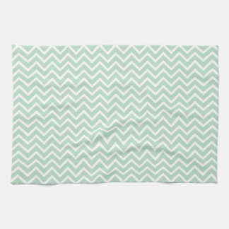 Mint Green Chevron Zigzag Stripes Kitchen Towel