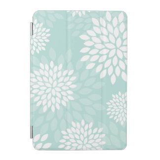Mint Green Chrysanthemums Floral Pattern iPad Mini Cover