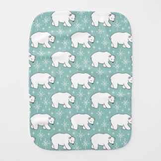 Mint Green Cute Polar Bear Pattern Baby Burp Cloths
