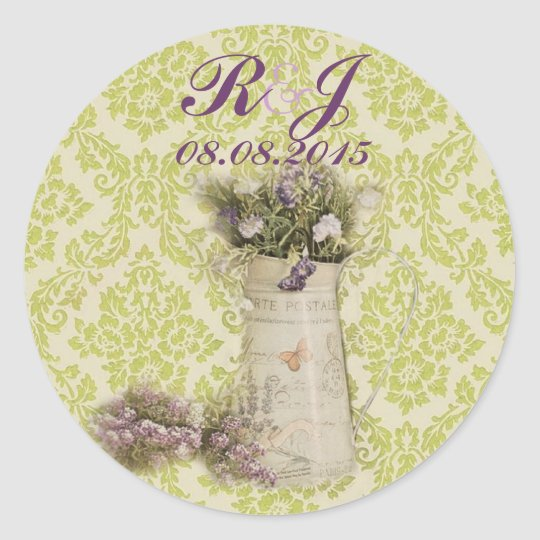 mint green damask floral lavender country wedding classic round sticker