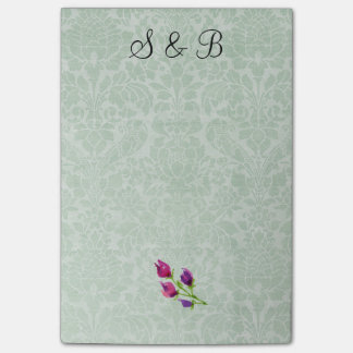 Mint Green Damask Initials Post-it® Notes 4 x 6