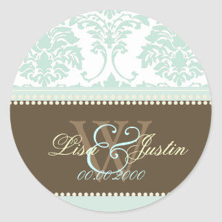 Mint Green Damask monogram wedding/DIY fonts+color Classic Round Sticker