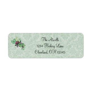 Mint Green Damask Return Address Labels