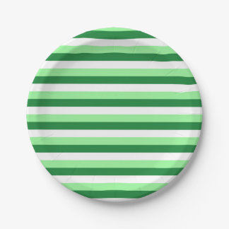 Mint Green, Dark Green and White Stripes 7 Inch Paper Plate