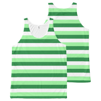 Mint Green, Dark Green and White Stripes All-Over-Print Tank Top