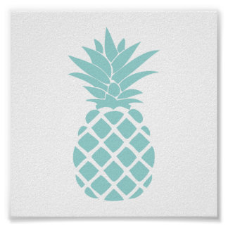 Mint Green Decorative Pineapple Shape Poster