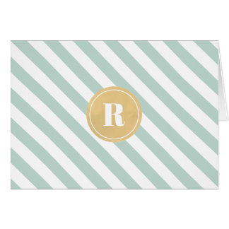 Mint Green Diagnol Stripes Gold Monogram Note Card