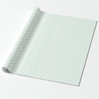 Mint Green Diagonal Stripes Wrapping Paper
