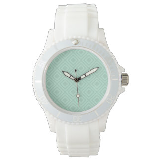 Mint Green Diamond Pattern Watch