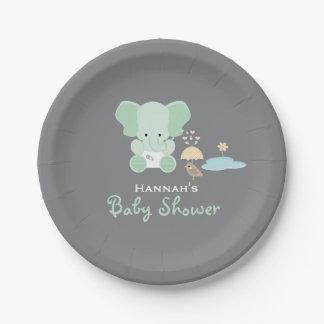 Mint Green Elephant Little Bird Baby Shower Paper Plate