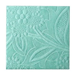Mint Green Floral Ceramic Tile