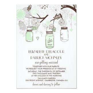 Mint Green Floral Mason Jars Wedding Invitation