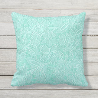 Mint Green Floral Outdoor Pillow
