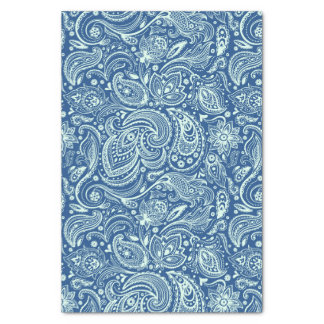 Mint-Green Floral Paisley Custom Blue Background Tissue Paper