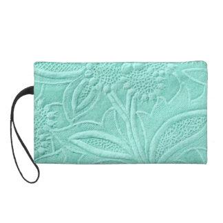 Mint Green Floral Wristlet Clutch