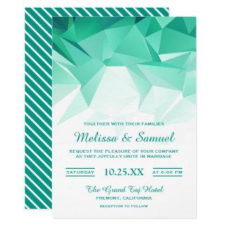 Mint Green Geometric Origami Wedding Invitation