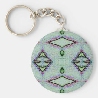 Mint Green Geometric Pattern Basic Round Button Keychain