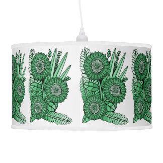 Mint Green Gerbera Daisy Flower Bouquet Pendant Lamp