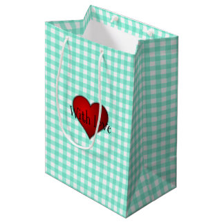 Mint Green Gingham Red heart With Love Medium Gift Bag